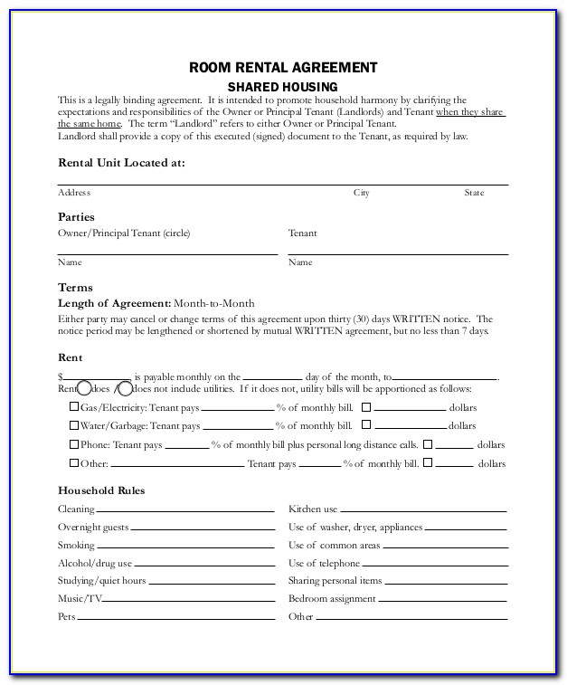 Room Rent Agreement Format In Marathi