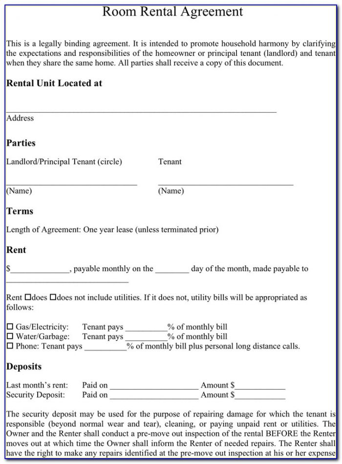 Room Rental Agreement Form Template