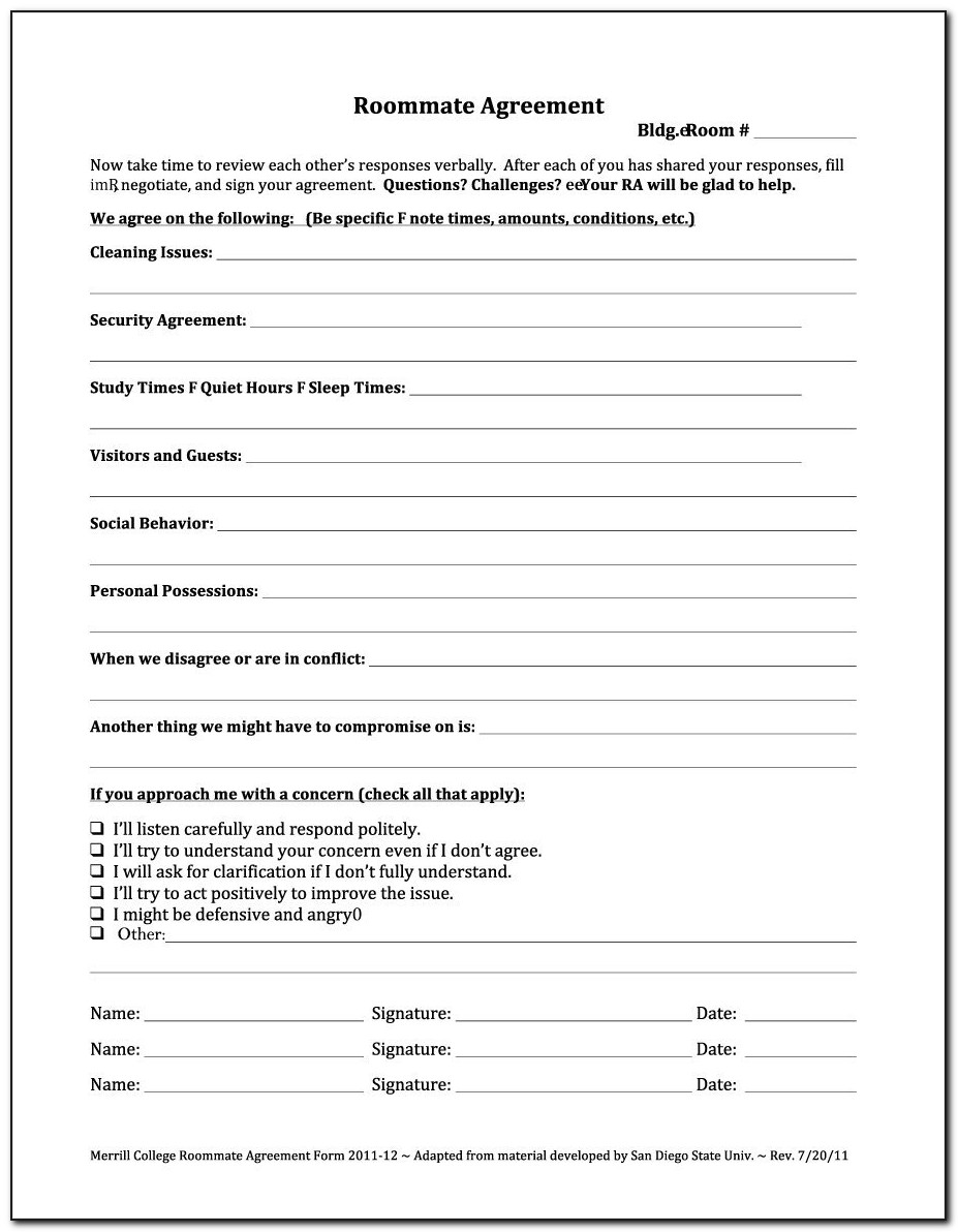 Roommate Application Form Free