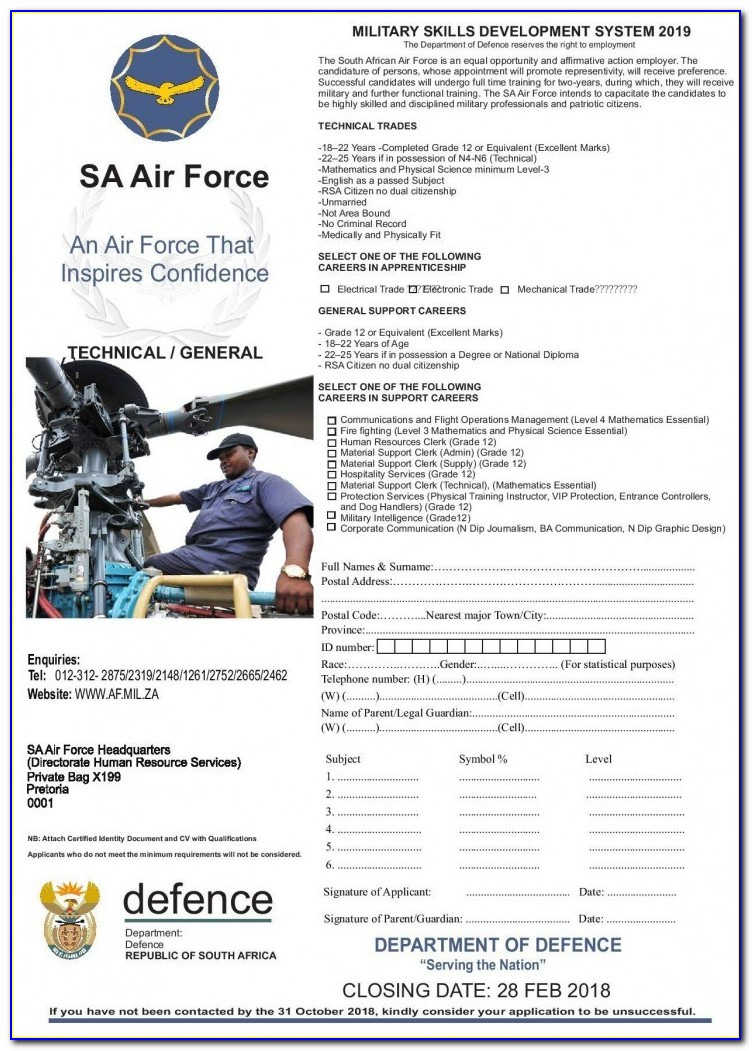 Sa Army Application Forms 2018 Closing Date
