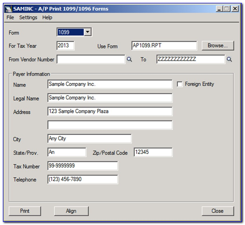 Sage 50 1099 Forms