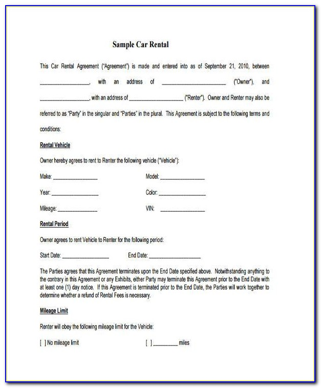 Sample Car Lease Agreement Contract