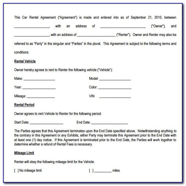 Sample Car Rental Agreement Form
