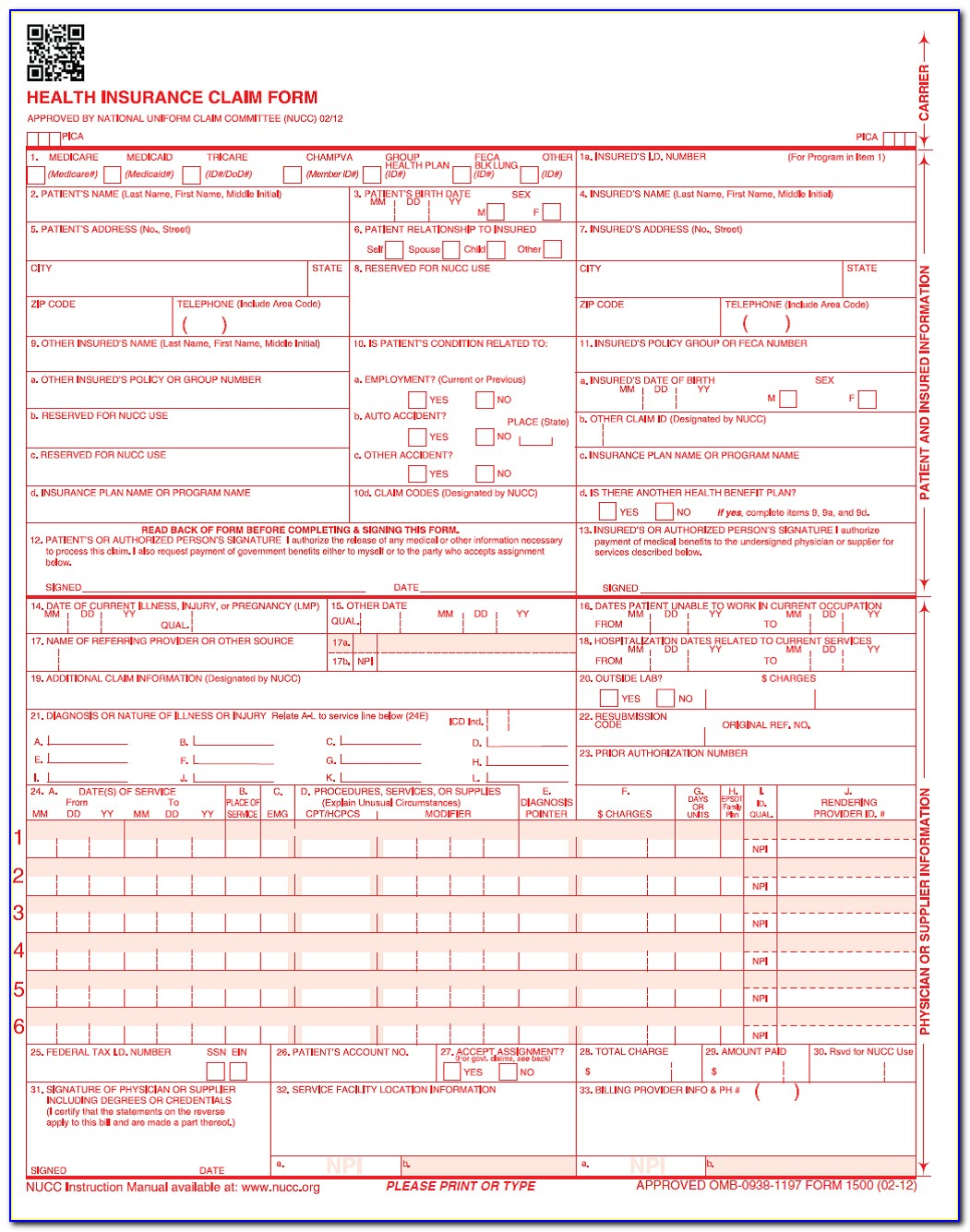 Sample Cms 1500 Claim Form Medicare