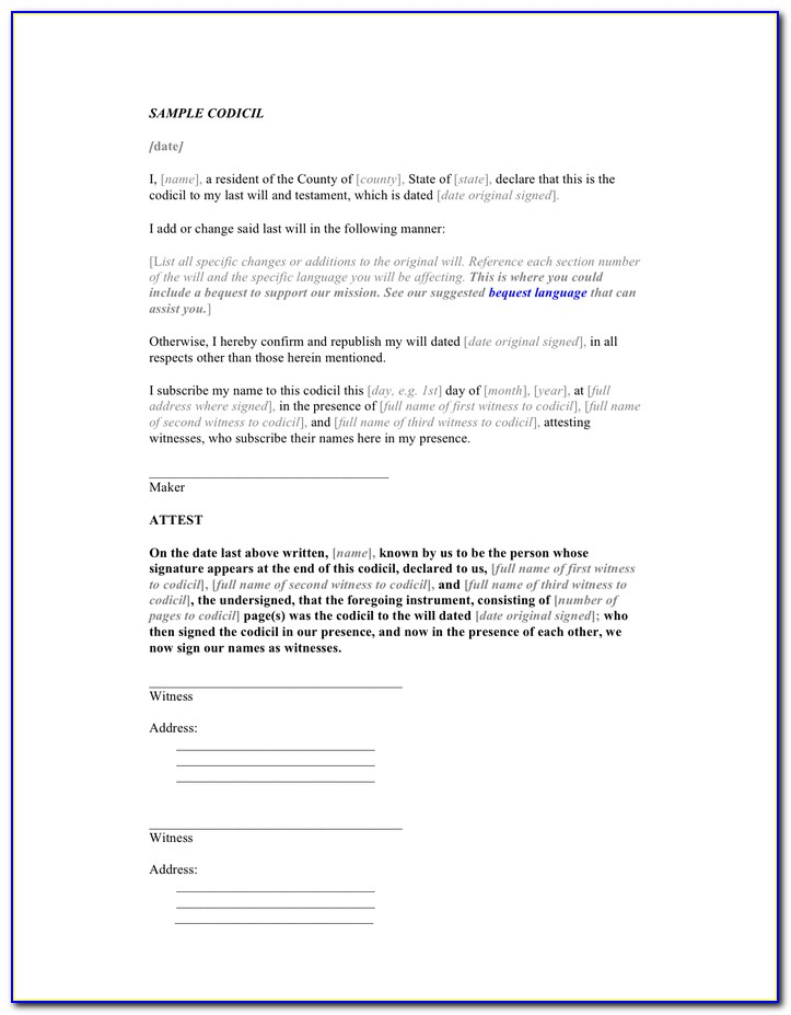 Sample Codicil Form
