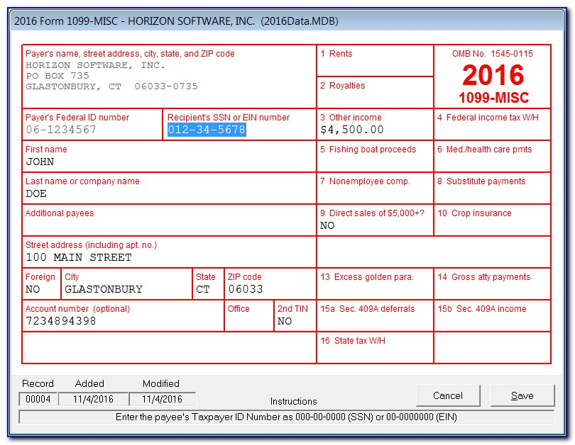 Sample Completed 1099 Misc Form