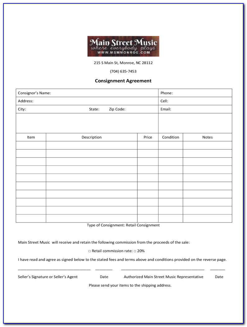 Sample Consignment Agreements