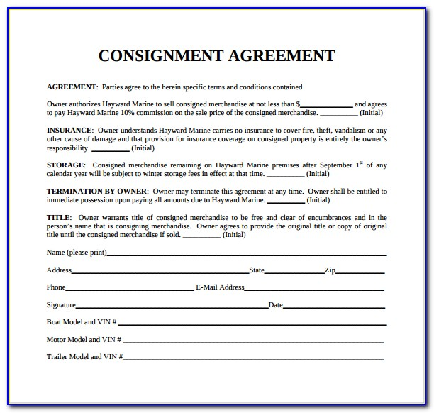 Sample Consignment Form Template