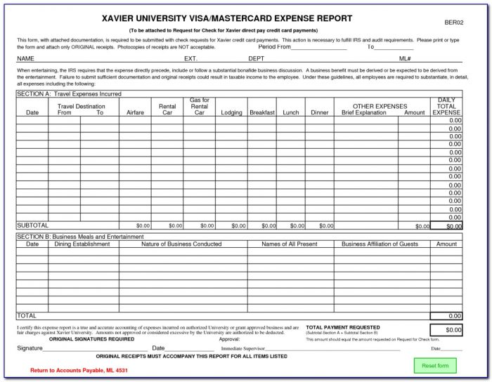 Sample Credit Card Expense Form