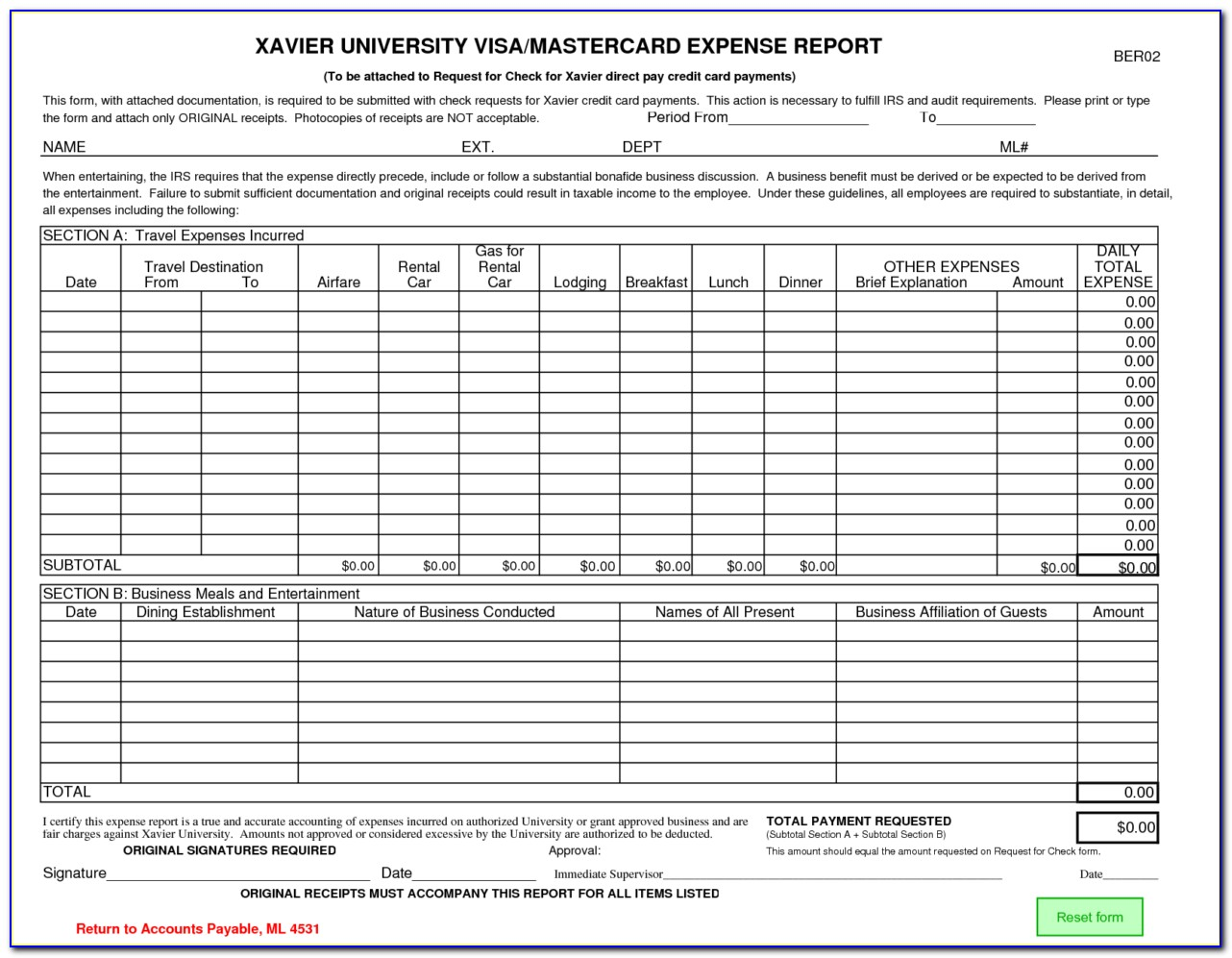 Sample Credit Card Expense Form