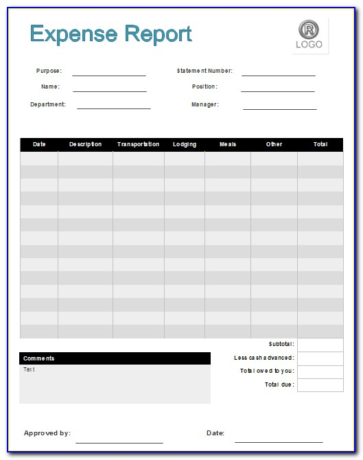 Sample Expense Report Forms Excel