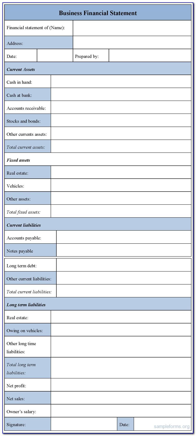 Sample Financial Statement Format