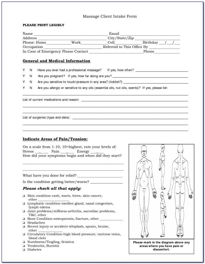Intake Forms My Massage Room Pinterest Free Client Intake