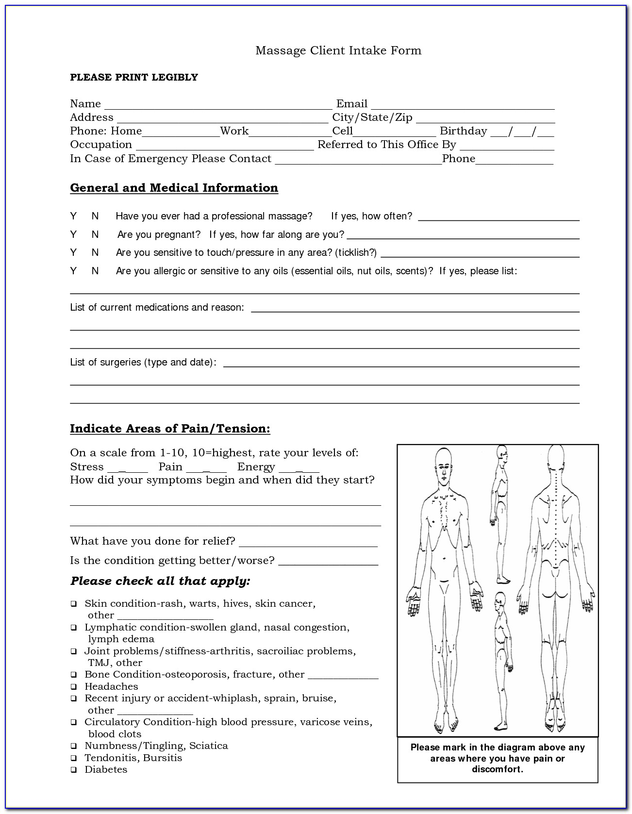 Sample Massage Client Intake Forms