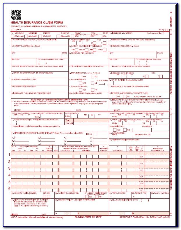 Sample Medicare 1500 Form