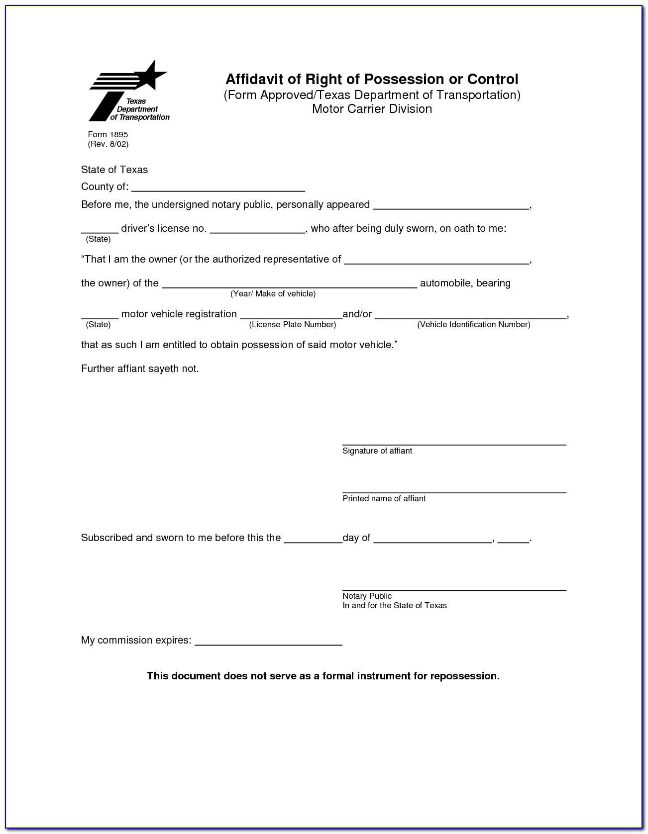Sample Notary Forms Texas