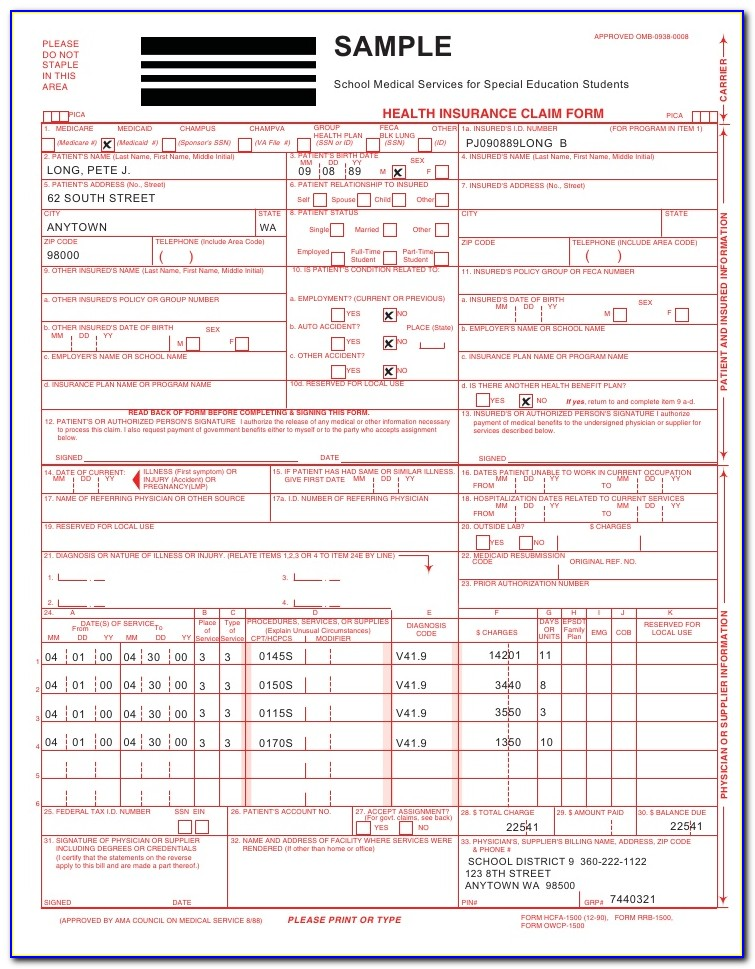 Sample Of A Blank Cms 1500 Claim Form