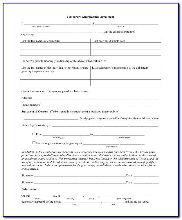 Sample Temporary Guardianship Form