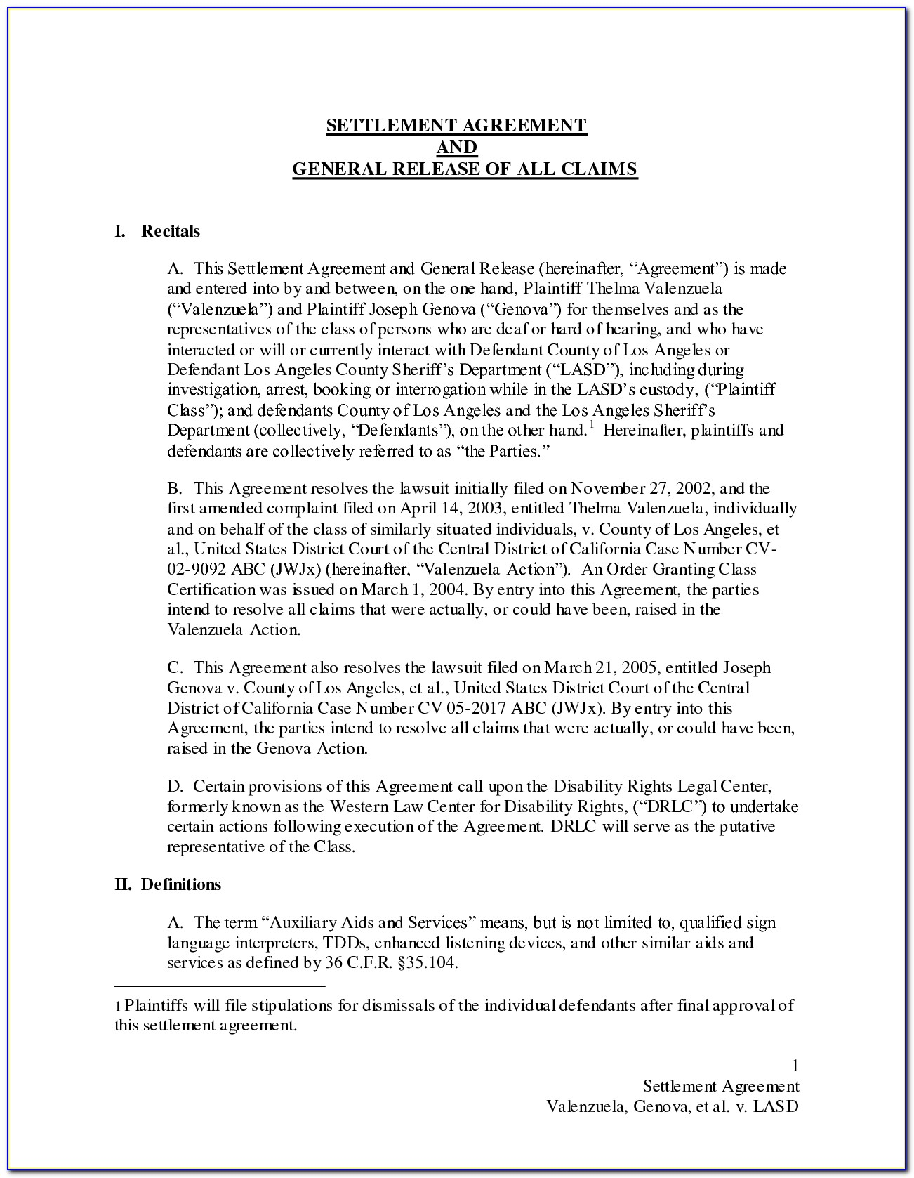 Settlement Agreement And Release Form Sample