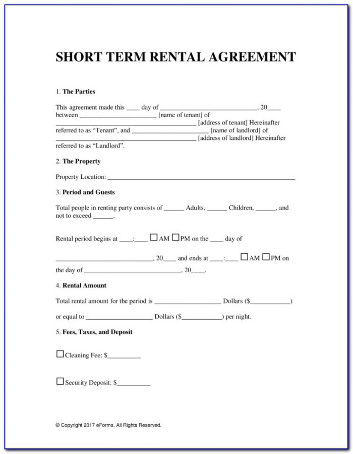 Short Term Tenancy Agreement Form Free Download