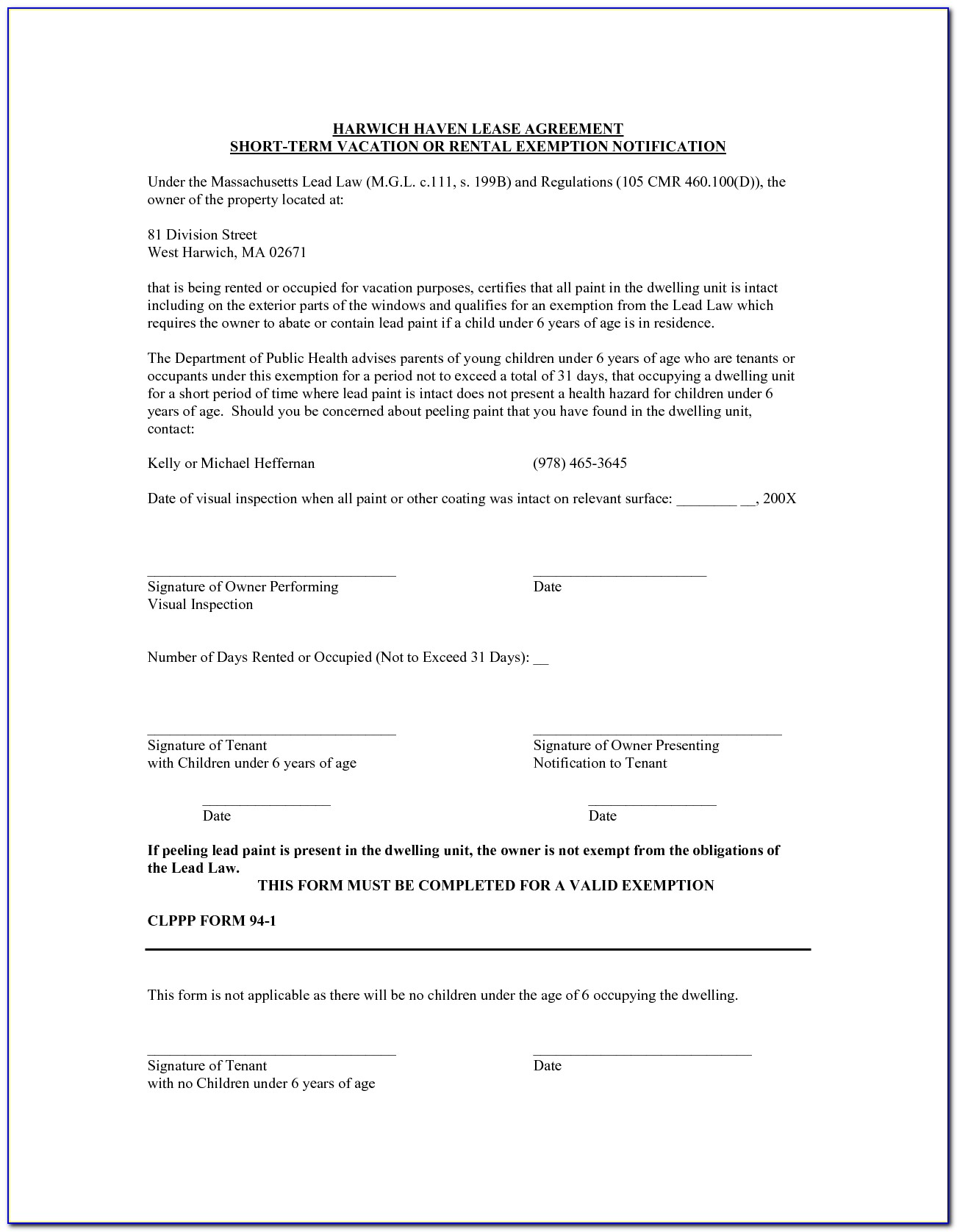 Short Term Vacation Rental Agreement Form