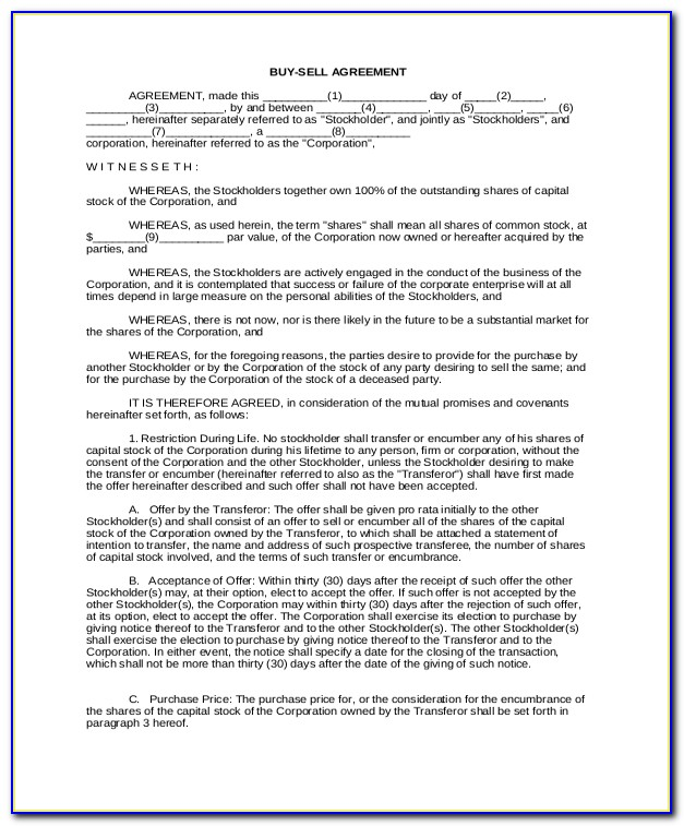 Sibling Buyout Agreement Form Form Resume Examples