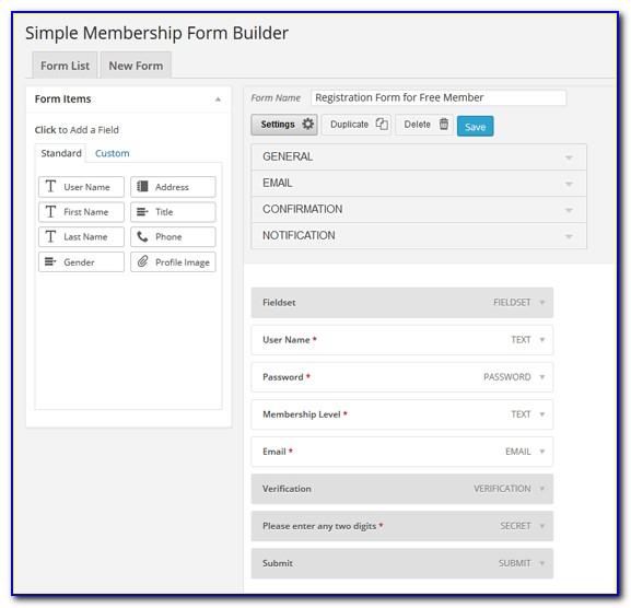 Simple Membership Form Builder Addon Download