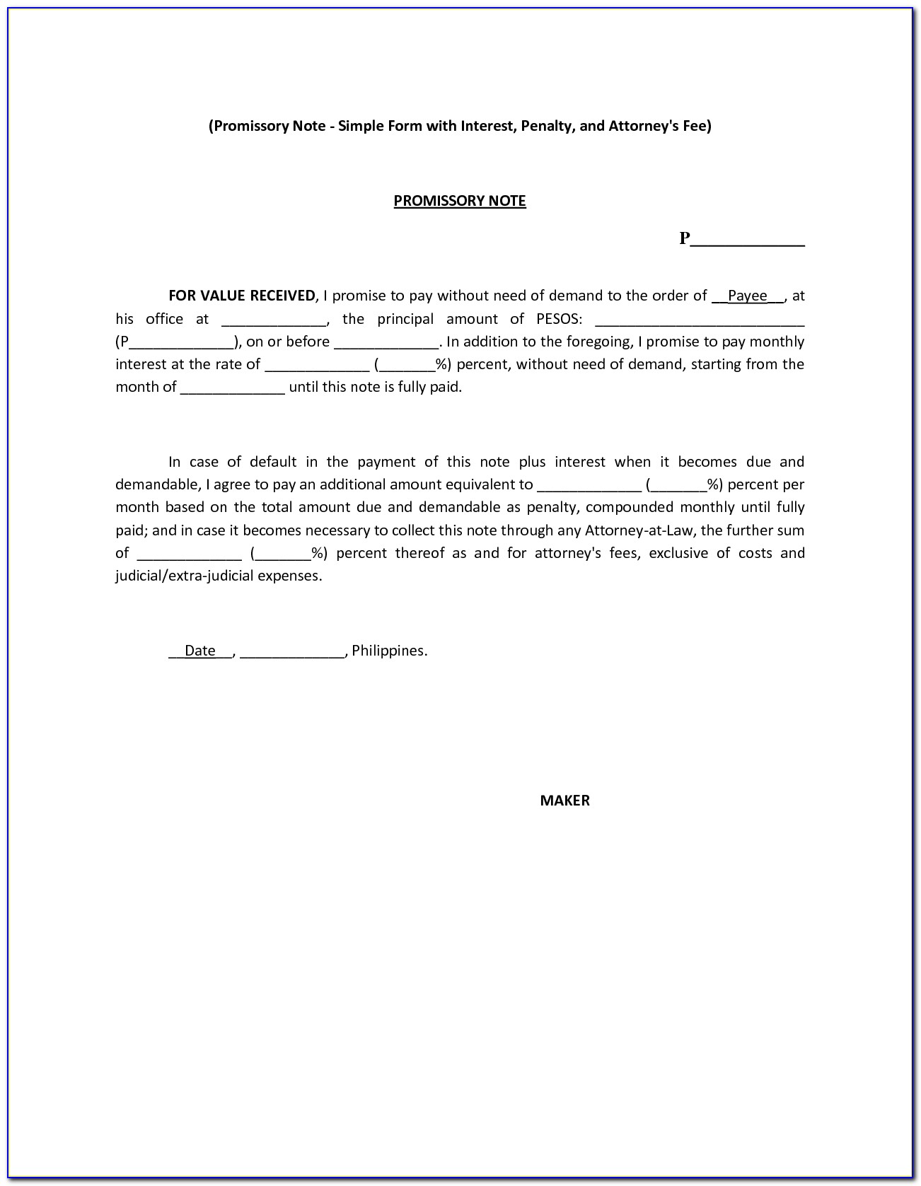 Simple Promissory Note Format In India