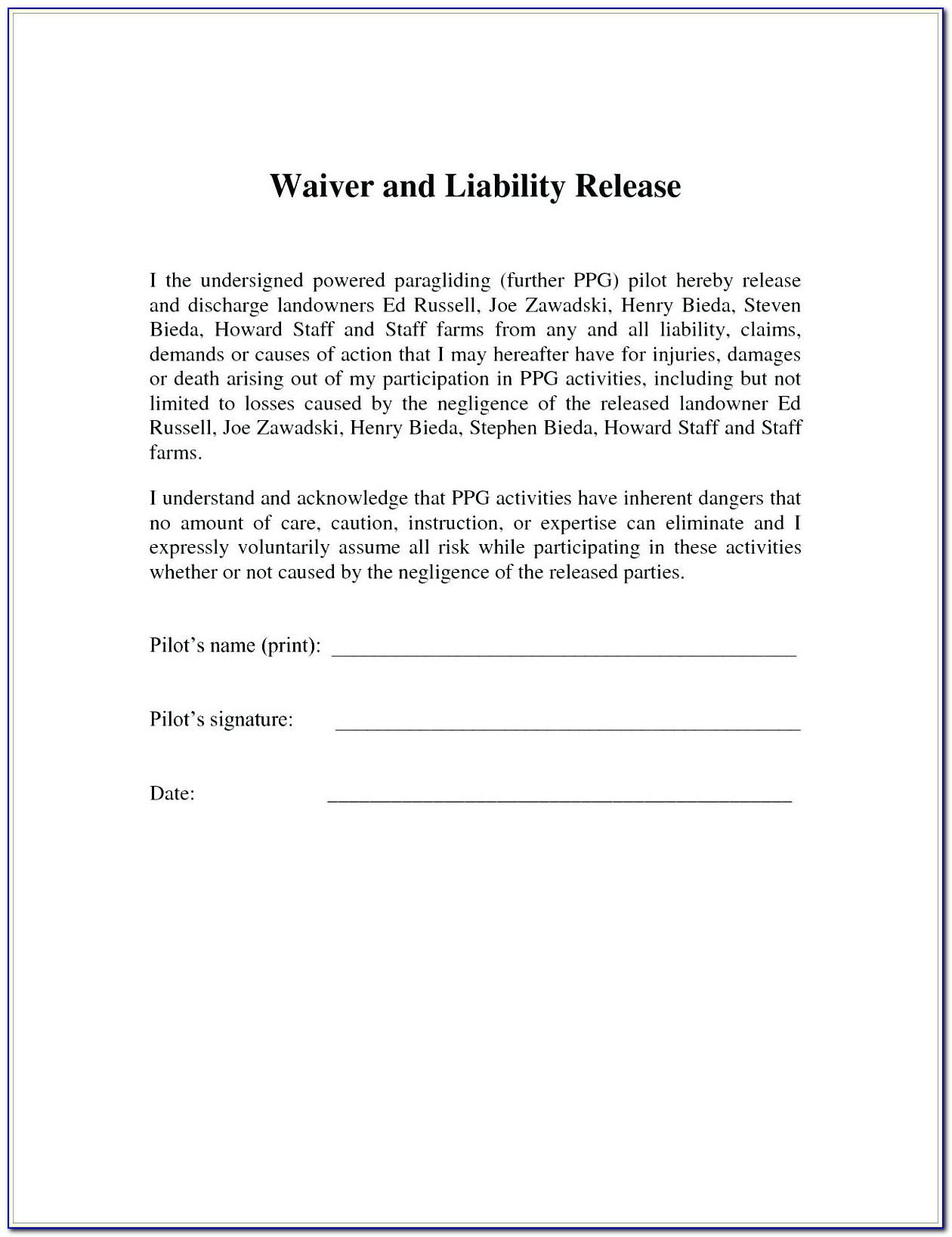 Simple Release Form For Car Accident