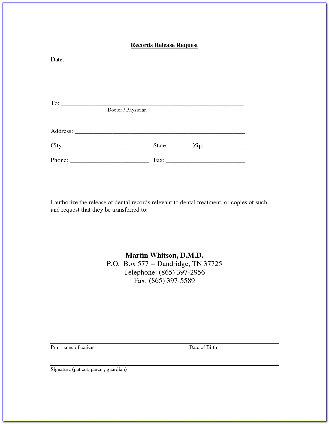 Simple Release Form For Filming