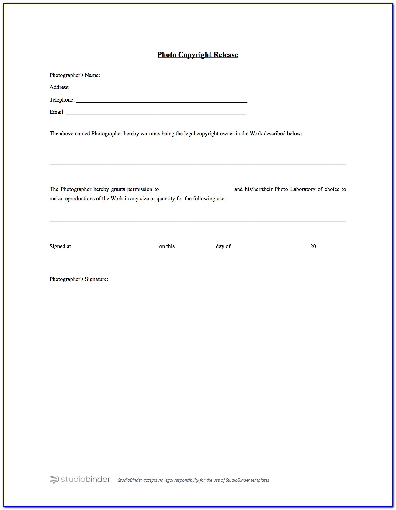 Simple Release Form Template