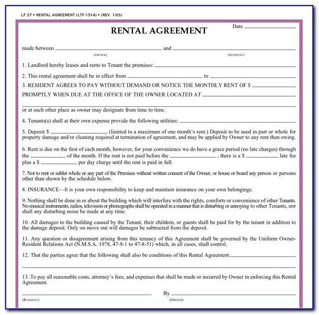 Simple Rental Agreement Form Pdf