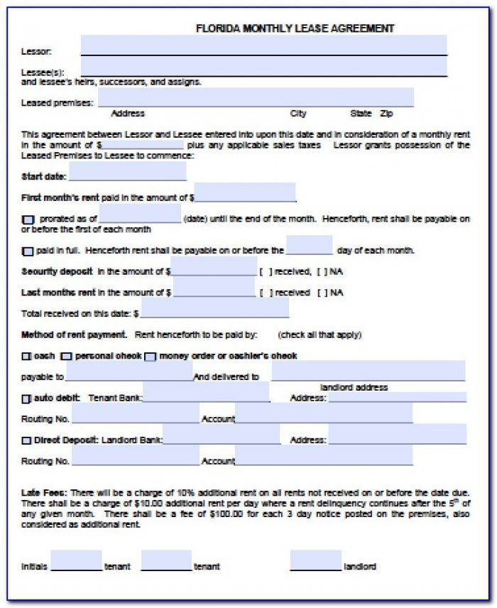 Simple Rental Agreement Forms Florida