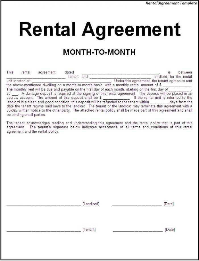 Simple Rental Lease Agreement Form