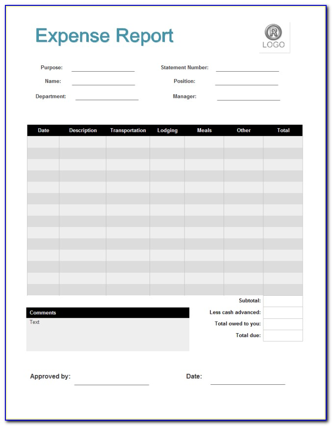 Simple Travel Expense Report Form