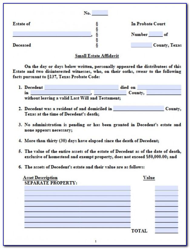 Small Estate Affidavit Texas Form Free