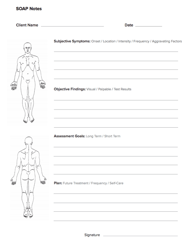 Soap Notes Massage Therapy Forms