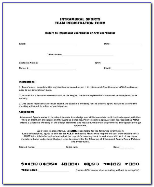 Softball Player Registration Form Template Word