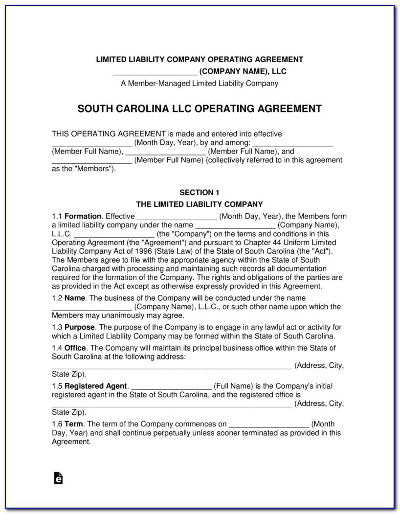 South Carolina Llc Application Form
