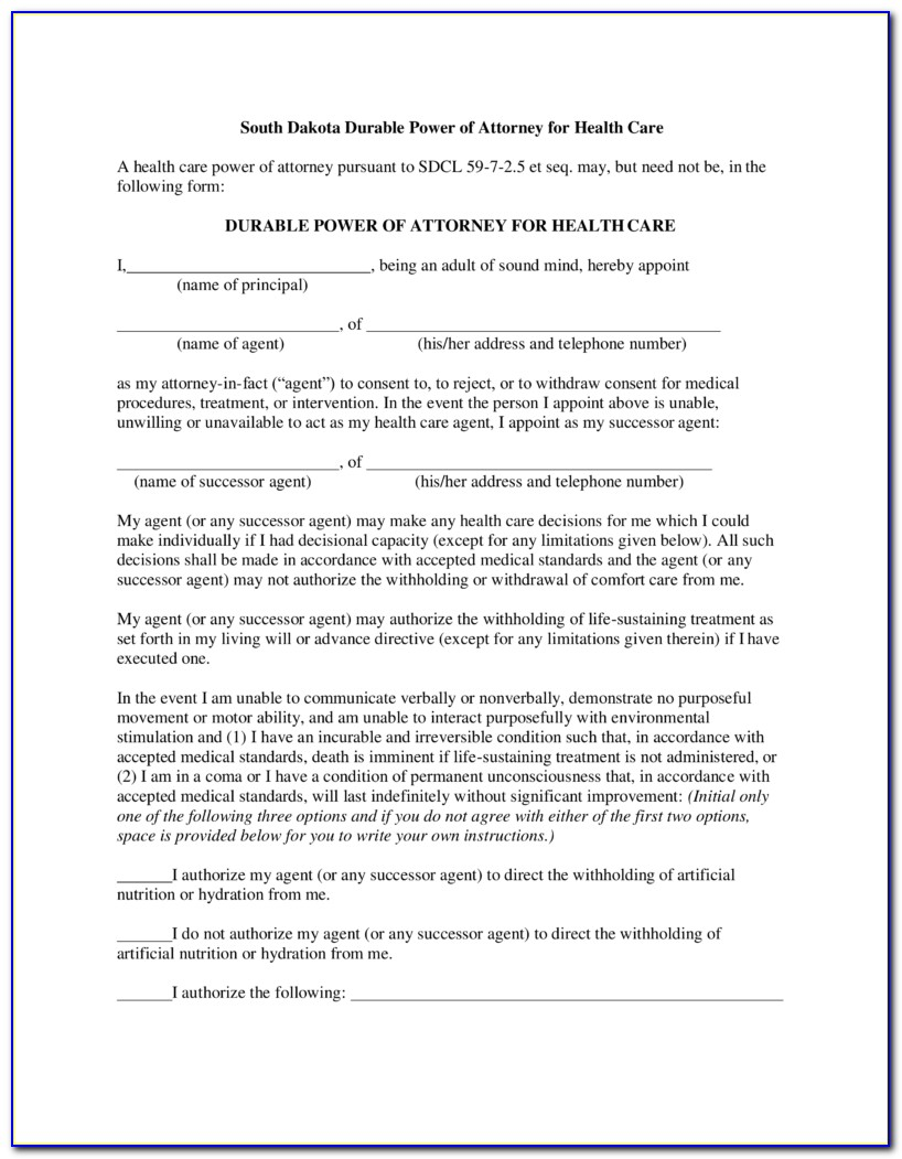 South Dakota Durable Power Of Attorney For Health Care Form