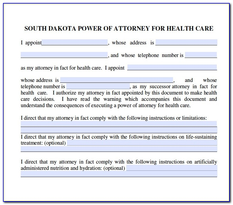 South Dakota Medical Power Of Attorney Form
