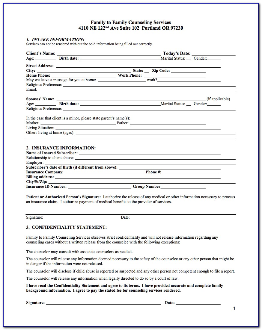Speech Therapy Intake Forms