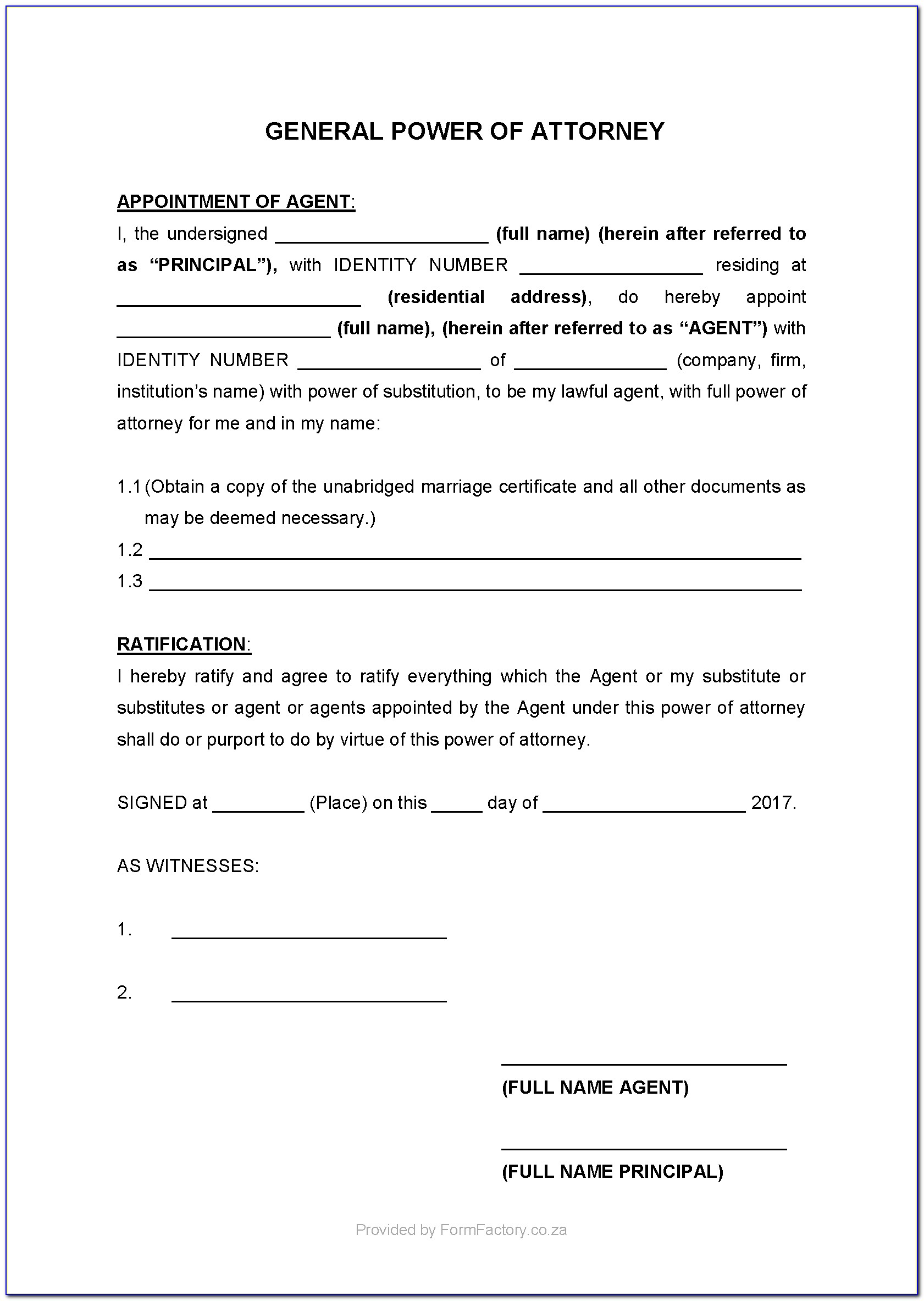 Standard Power Of Attorney Form South Africa