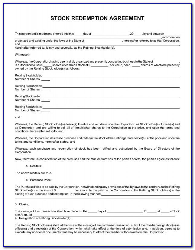 Stock Redemption Agreement Form