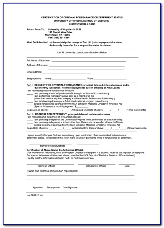 Student Loan Deferment Form 2018