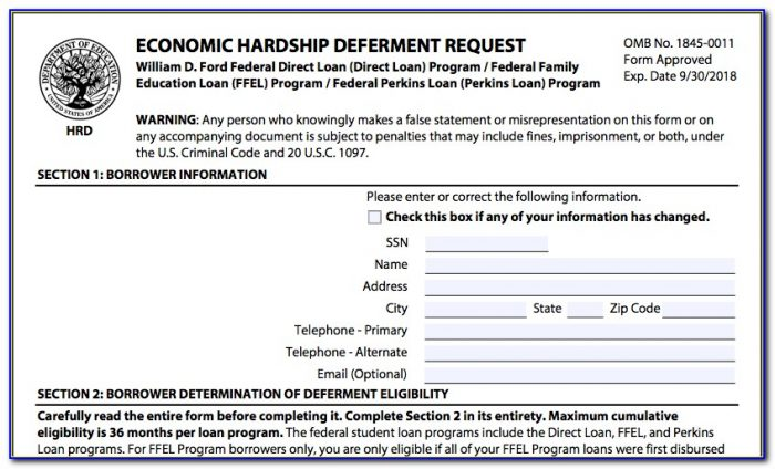 Student Loan Deferment Form Online