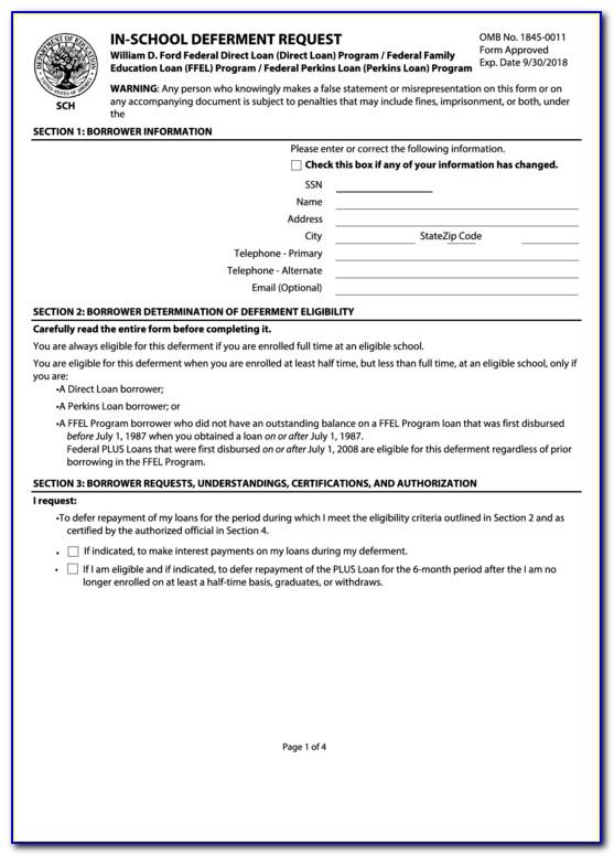 Student Loans Deferment Form Pdf