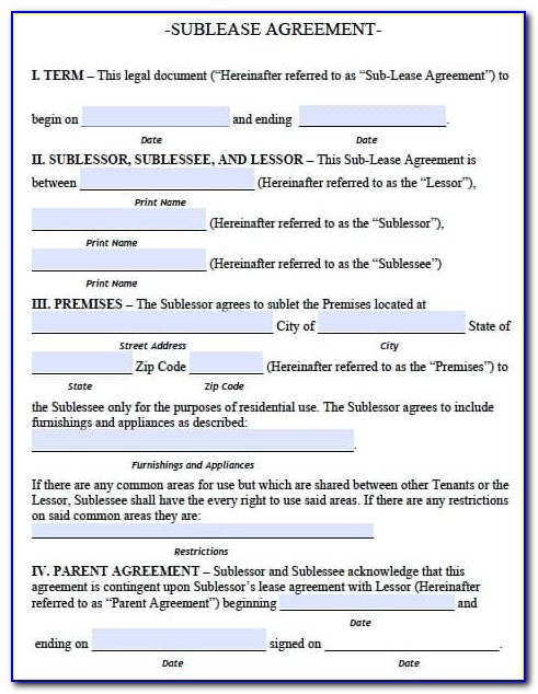 Sublease Agreement Form Pdf
