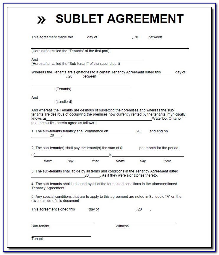 Sublease Form Mn