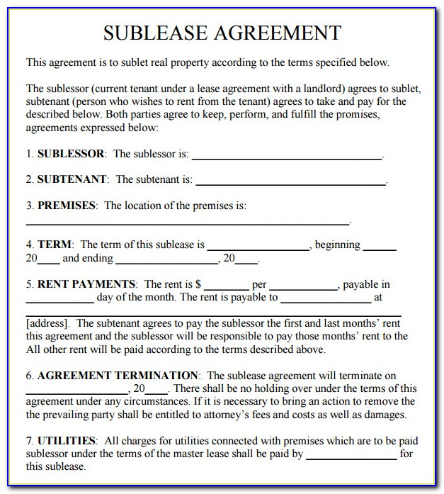 Sublease Form Nc